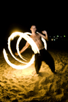 Perhentian Island, Terengganu, Malaysia: Perhentian Island Resort - Teluk Pauh - PIR - fire spiral - fireshow dancer performing on the beach - photo by S.Egeberg