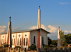 Nkopola, Malawi: church with three cross towers- religious architecture along the main road - photo by M.Torres