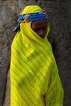 Bandiagara Escarpment, Dogon country, Mopti region, Mali: girl in bright shawl - photo by J.Pemberton