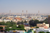 Nouakchott, Mauritania: skyline of the sprawling Moor capital with the Olympic Stadium and theMinistry of Foreign Affairs on the horizon - photo by M.Torres