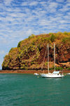 Mamoudzou, Grande-Terre / Mahore, Mayotte: yacht and the northeastern corner of Pointe Mahabou - photo by M.Torres