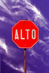 Mexico - Bahia De Los Angeles (Baja California): Alto - Stop sign, Mexican style - photo by G.Friedman