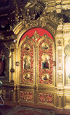 Chisinau / Kishinev, Moldova: Church of St. Teodor Tiron - Ciuflea - detail of gilded gate - photo by M.Torres