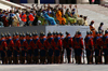 Ulan Bator / Ulaanbaatar, Mongolia: soldiers and musicians in front of the Parliament building, Suhbaatar square - photo by A.Ferrari