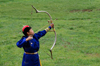 Ulan Bator / Ulaanbaatar, Mongolia: Naadam festival - women's archery competition - photo by A.Ferrari