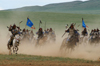 Ulan Bator / Ulaanbaatar, Mongolia: cavalry charge to celebrate the 800th anniversary of the Mongolian state - dust - photo by A.Ferrari