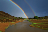 Gobi desert, southern Mongolia: rainbows and river, near Ongiin Khiid - photo by A.Ferrari