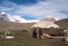 Mongolia - Altai mountains: Mt Khuiten - assembling a ger / yurt - photo by A.Summers