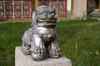 Tsetserleg, Arkhangai province, central Mongolia: lion outside the main temple of Zayain Gegeenii Sum - photo by A.Ferrari