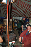 Mongolia - Open Mongolian Steppe: family in a ger or yurt - photo by A.Summers