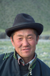 Mongolia - Uvs province: nomadic hearder with hat - photo by A.Summers