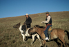 Mongolia - Khentii province: local people on horses - photo by A.Summers