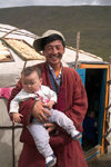 Mongolia - Open Mongolian Steppe: family and Ger Turkish name yurt)  (photo by Ade Summers)