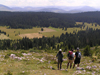 Montenegro - Crna Gora - Durmitor national park: hikers down a mountain - photo by J.Kaman