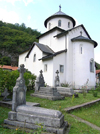 Montenegro - Crna Gora - Komovi mountains: Moraca monastery - Serb Orthodox church and graves - photo by J.Kaman