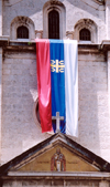 Montenegro - Crna Gora - Kotor: Serbian flag - church of St Nicholas - photo by M.Torres