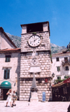 Montenegro - Crna Gora - Kotor: clock tower and obelisk - Cattaro - UNESCO World Heritage Site - photo by M.Torres