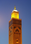 Morocco / Maroc - Casablanca: Hassan II mosque - minaret at dusk - photo by J.Kaman