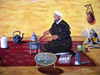 Morocco / Maroc - Boumalne du Dades: mural - tea in the desert - photo by J.Kaman