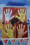 Asilah / Arzila, Morocco - hands - street painting - public art - photo by Sandia
