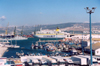 Morocco / Maroc - Tangier / Tanger: view of the harbour - fishing boats and a ferry to Algeciras / Comarit