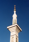 Morocco / Maroc - Tangier / Tanger: modern mosque - detail of the minaret