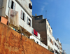 Casablanca / Anfa, Morocco: Medina houses and wall along Blvd Tahar el-Alaoui - photo by M.Torres