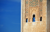 Casablanca, Morocco: Hassan II mosque - carved marble on the minaret - photo by M.Torres