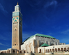 Casablanca / Dar-el-Baida, Morocco: Hassan II mosque with its sliding green roof - photo by M.Torres