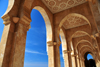 Casablanca, Morocco: Hassan II mosque - arcade with carved ceiling in red Agadir marble - photo by M.Torres