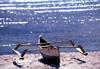 Mozambique / Mo�ambique - Pemba: local trimaran rests on the beach - fishing boat / trimar� - photo by F.Rigaud
