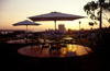Mozambique / Mo�ambique - Maputo / Louren�o Marques: Cardoso Hotel - parasols and view over the city and the harbour / esplanada do Hotel Cardoso - photo by F.Rigaud