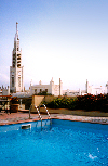 Mozambique / Mo�ambique - Maputo / Louren�o Marques: swimming pool at the Rovuma Carlton Hotel / piscina no Hotel Rovuma Carlton, ao fundo a Catedral de Nossa Senhora da Concei��o - Carlton, Rua da S�, 114 - photo by M.Torres