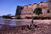 Ilha de Mo�ambique / Mozambique island: forte de S�o Sebasti�o / S�o Sebasti�o fort - under the ramparts - photo by F.Rigaud