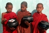 Myanmar / Burma - Young Buddhist monks wait for food donations (photo by J.Kaman)