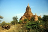 Myanmar / Burma - Bagan / Pagan: oxen and pagoda - dirt road - photo by D.Forman