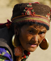 Nepal - Langtang region - Tamang woman with her typical earing - photo by E.Petitalot