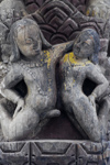 Kathmandu, Nepal: happy couple - amorous wood sculpture in an Hindu temple - photo by E.Petitalot