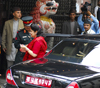 Kathmandu, Nepal: former royalty - ex-Queen Komal of Nepal gets out of an armoured Jaguar - photo by E.Petitalot