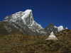 Nepal - Dingboche - Khumbu region: stupa and the peak - Everest Base Camp Trek - photo by M.Samper