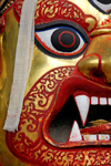 Kathmandu, Nepal: Seto Bhairab (White Demon) golden mask in Durbar Square - revealed for Indra Jatra festival - one of the most important deities of Nepal, sacred to Hindus and Buddhists alike - photo by J.Pemberton