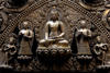Kathmandu, Nepal: detail from Seto Machhendranath temple - Buddha - metal figures - photo by J.Pemberton