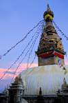 Kathmandu valley, Nepal: Swayambunath temple - stupa at sundown - photo by J.Pemberton