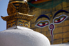 Kathmandu valley, Nepal: Swayambhunath stupas - eyes of Buddha looking in all four directions - iconography of the Vajrayana tradition of Tibetan Buddhism - photo by J.Pemberton