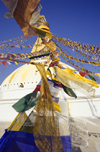 Kathmandu valley, Nepal: Bodhnath temple complex - prayer flags at Nepal's largest stupa - it is said to entomb a Kasyapa sage venerable both to Buddhists and Hindus - photo by W.Allg�wer
