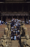 Bhaktapur, Bagmati zone, Nepal: school children on the stairs of Nyatapola temple, a five-tiered pagoda dedicated to the Hindu goddess Siddhi Lakshmi, the wrathful manifestation of the Goddess Durga - photo by W.Allgöwer