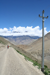 Annapurna region, Nepal: mountain road and telephone lines - photo by M.Wright