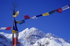 Annapurna area, Manang district, border with Mustang district, Nepal: prayer flags and Khangsar Kang, 7485 m - tarcho - photo by W.Allgöwer