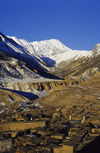 Chame, Manang district, Gandaki Zone, Nepal: the town and the Annapurna massif - photo by W.Allgöwer