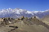 Jharkot, Annapurna Region, Mustang district, Nepal: village, 16th century fort, Shakyapa Gompa and mountains along the Muktinath valley - Bara Gaon area - photo by W.Allg�wer